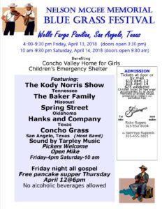 Nelson McGee Memorial Bluegrass Festival- All gospel Friday Night @ Wells Fargo Pavilion, San Angelo, Texas